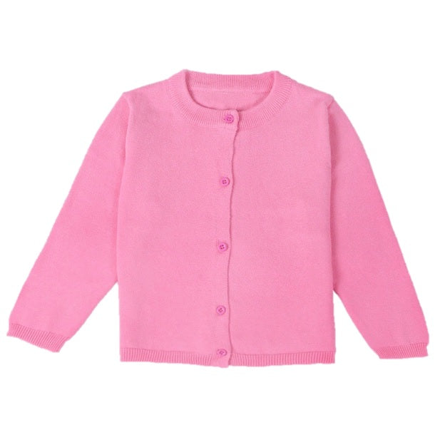 Basic Crewneck Cardigan in Pink