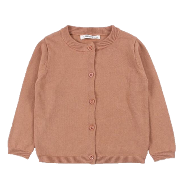 Basic Crewneck Cardigan in Salmon