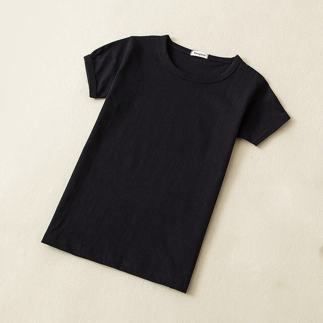 Baby Basic Cotton Crewneck T-Shirt in Black