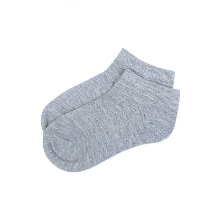 Basic Cotton Ankle Socks in Gray