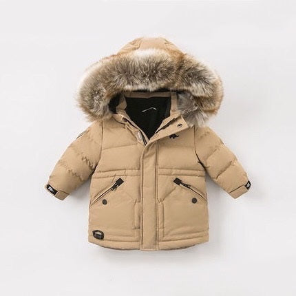 Beige Hooded Baby Parka