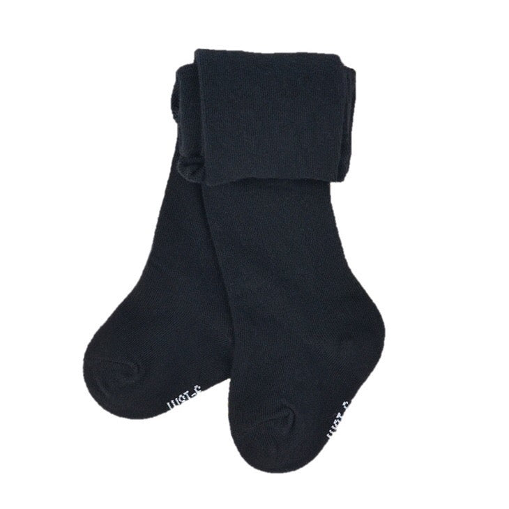 Knit Cotton Baby Tights in Black