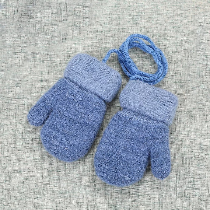 Furry Baby Mittens in Dark Blue