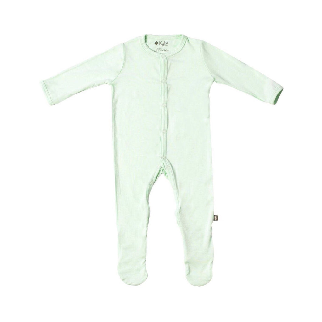 Solid Footed Onesie in Mint