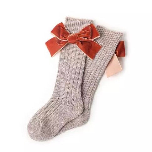Bow Knee High Baby Socks in Khaki