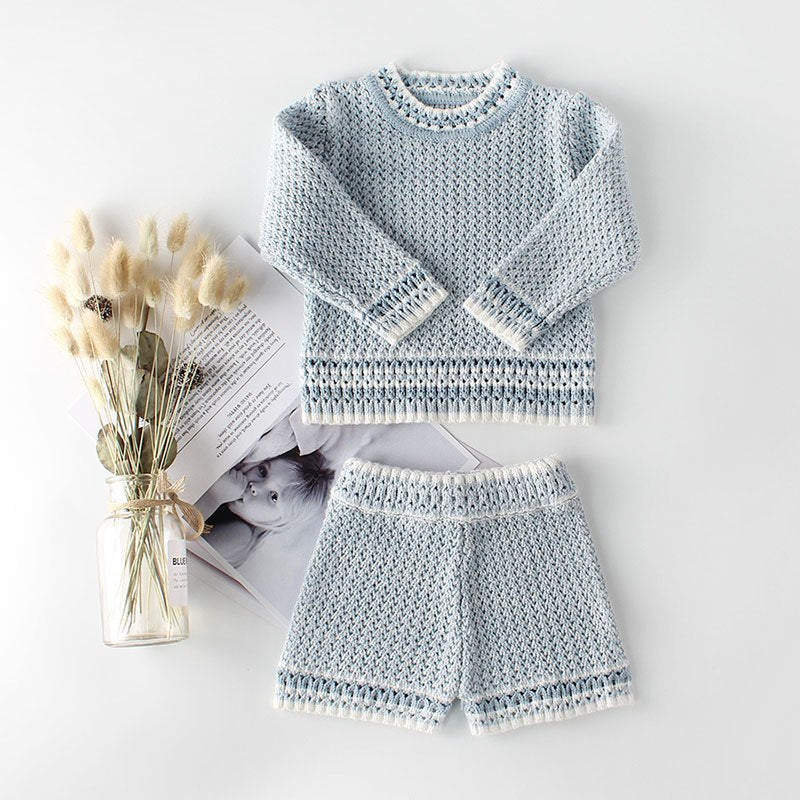 Knit Sweater & Short Set in Light Blue