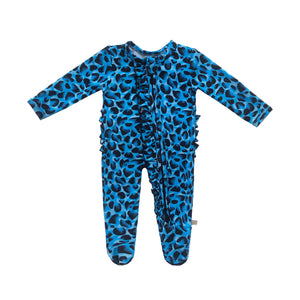 Brooklyn Leopard Bamboo Ruffled Zippered Footed Onesie