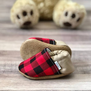 Buffalo Plaid and Tan Low Top Moccasins