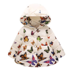 Butterfly Print Fleece Puffer Coat