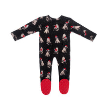 Load image into Gallery viewer, Christmas Pup Bamboo Zippered Footed Onesie