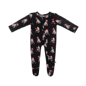 Christmas Pup Bamboo Zippered Footed Onesie