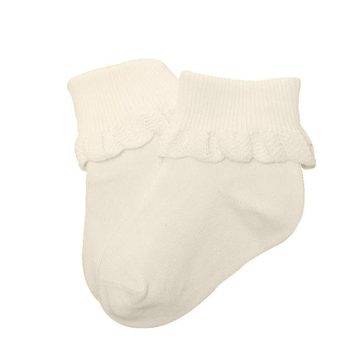Cuffed Baby Socks with Crochet Detail in Cream