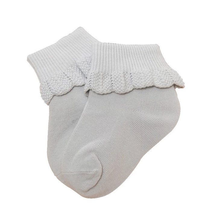 Cuffed Baby Socks with Crochet Detail in Storm