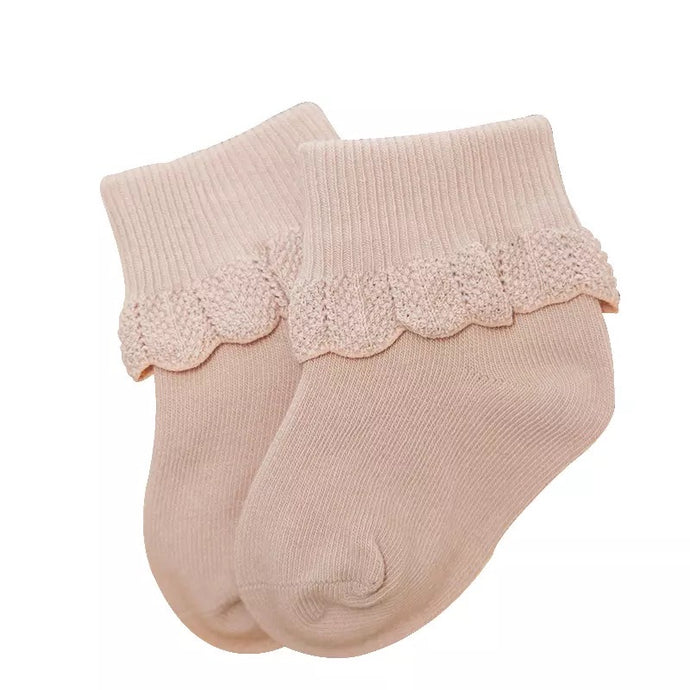 Cuffed Baby Socks with Crochet Detail in Taupe
