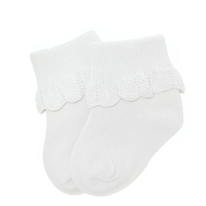 Cuffed Baby Socks with Crochet Detail in White