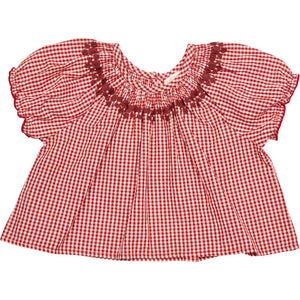 Elle Top in Red Gingham