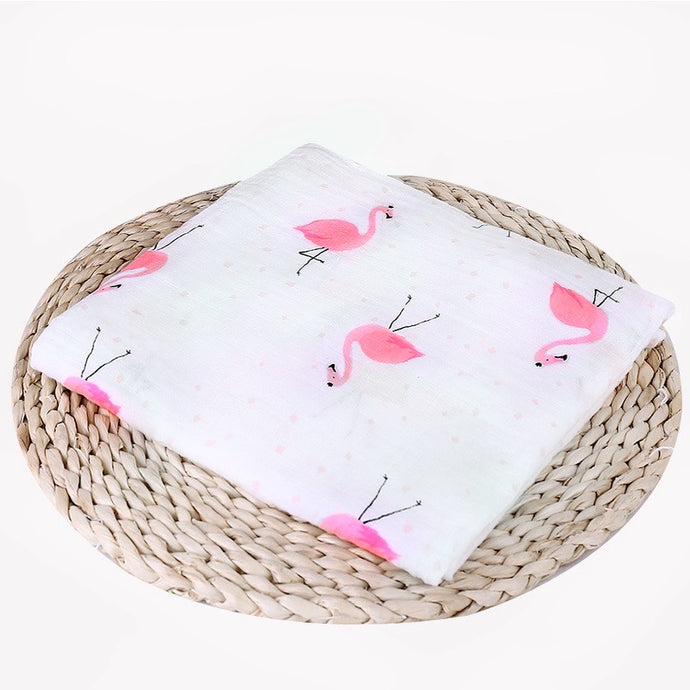 Muslin Cotton Flamingo Print Swaddle