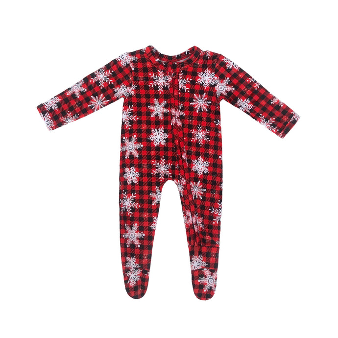 Frosted Lumber Bamboo Zippered Footed Onesie