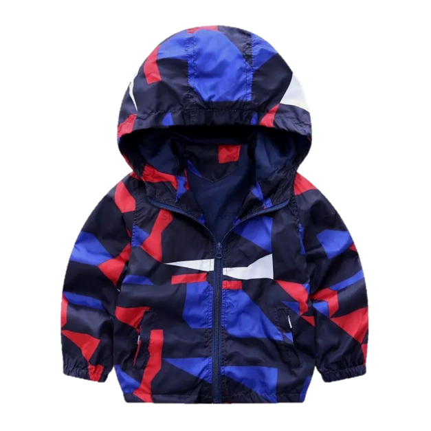 Geometric Colorblock Windbreaker