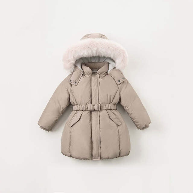 Girls' Belted Parka in Taupe
