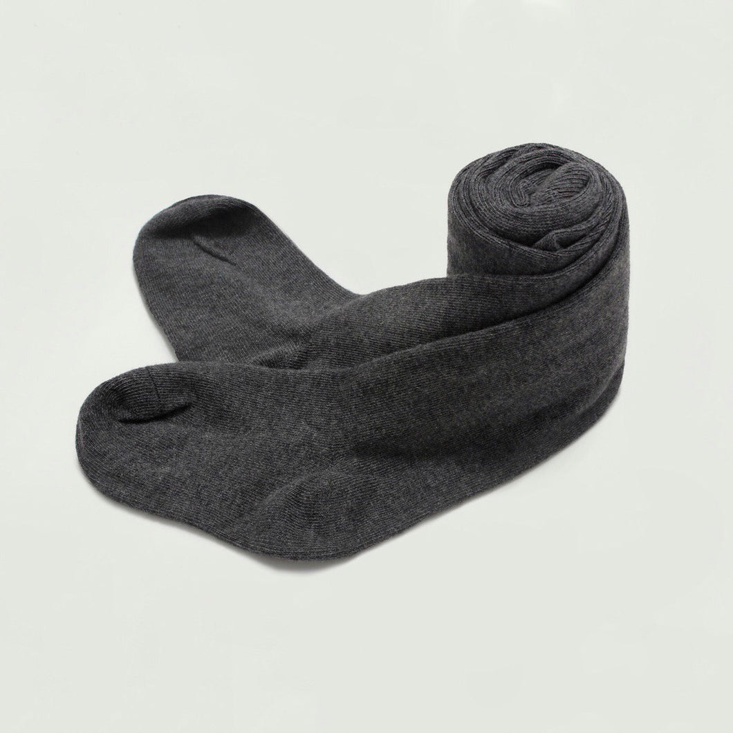 Knit Cotton Tights in Dark Gray