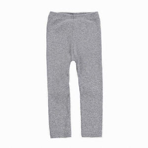 Ribbed Cotton Leggings in Gray