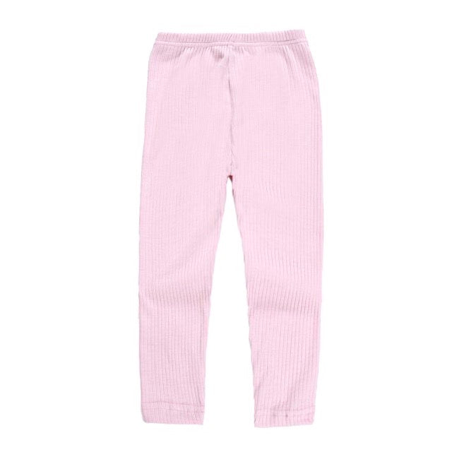Ribbed Cotton Leggings in Pink