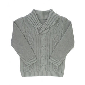 Gray Cable Knit Shawl Collar Sweater