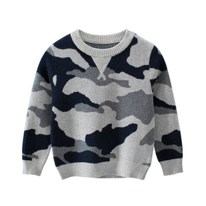 Gray Knit Camo Sweater