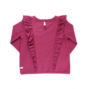 Heather Mulberry Ruffle Waterfall Top