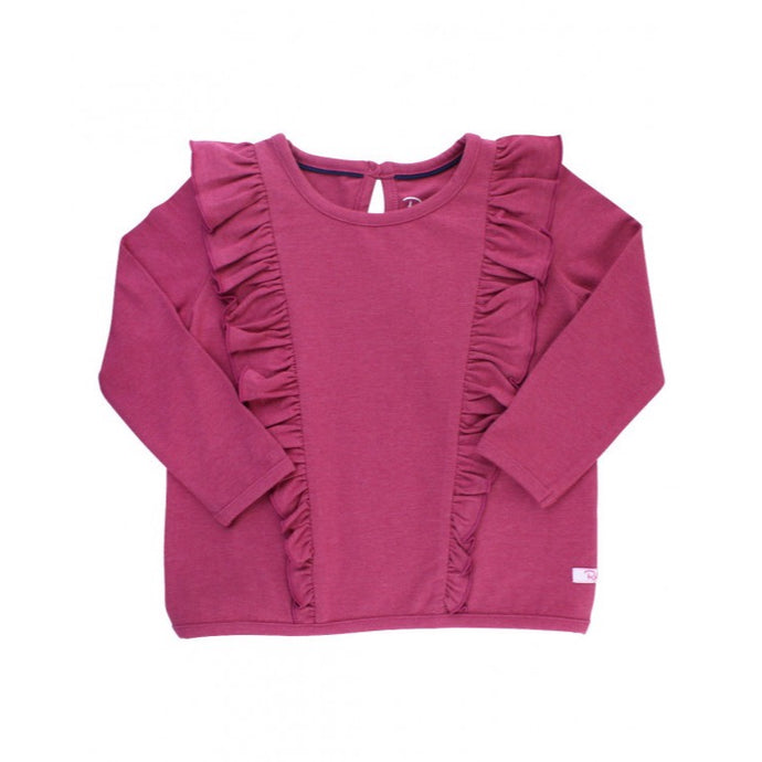 Baby Heather Mulberry Ruffle Waterfall Top