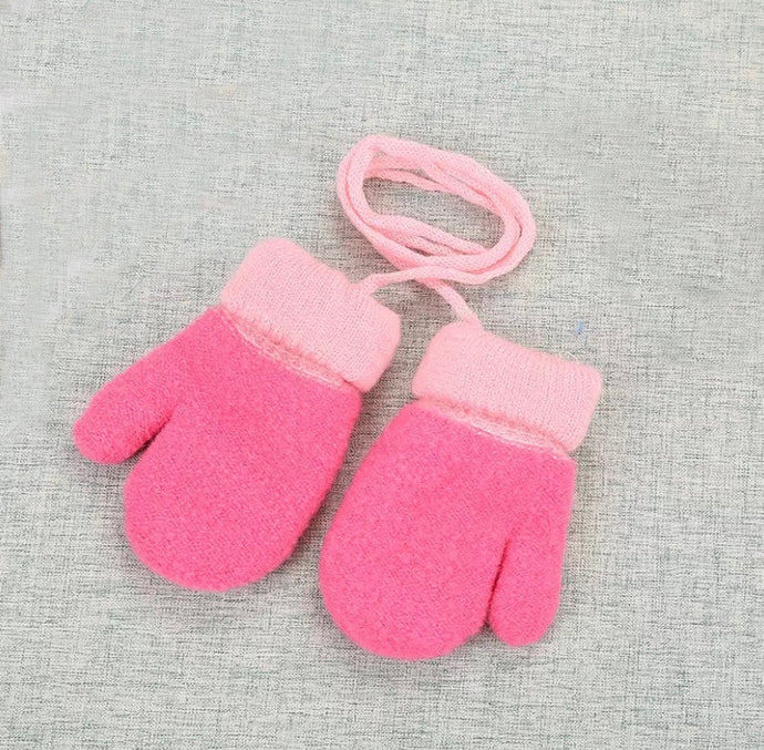 Furry Baby Mittens in Hot Pink