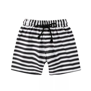 Black & White Stripe Swim Trunks