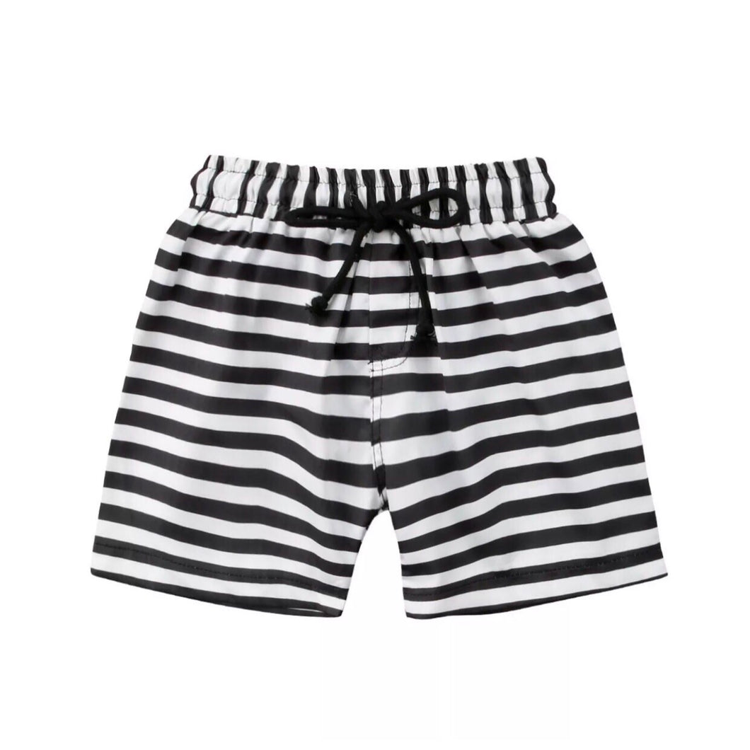 Baby Black & White Stripe Swim Trunks