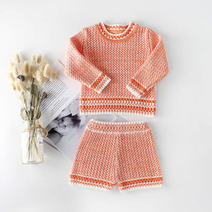 Knit Sweater & Short Set in Coral