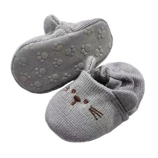 Knit Mouse Booties in Gray