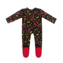 Load image into Gallery viewer, Kwanzaa Lights Bamboo Zippered Footed Onesie