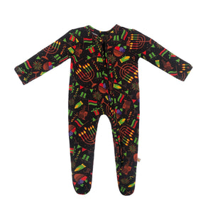 Kwanzaa Lights Bamboo Zippered Footed Onesie