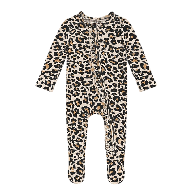 Posh Peanut Lana Leopard Tan Footie Ruffled Zippered One Piece
