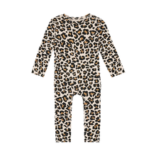 Load image into Gallery viewer, Posh Peanut Lana Leopard Tan Ruffled Footless Romper