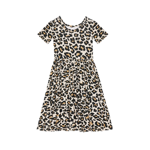 Posh Peanut Lana Leopard Tan Short Sleeve Twirl Dress