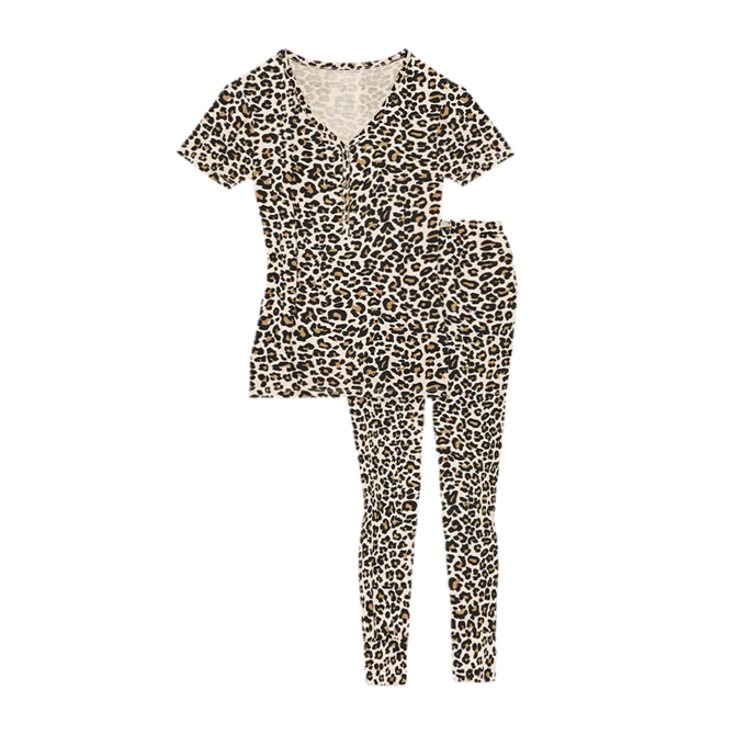 Posh Peanut Lana Leopard Tan Women's Short Sleeve Loungewear Set
