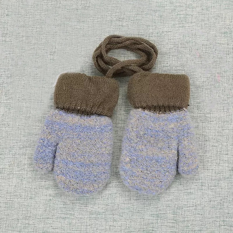 Furry Baby Mittens in Light Blue