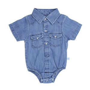 Light Wash Short Sleeve Denim Bodysuit