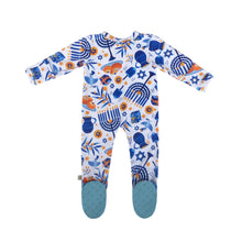 Load image into Gallery viewer, Hanukkah Bamboo Zippered Footed Onesie