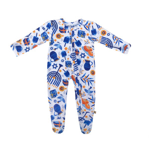 Hanukkah Bamboo Zippered Footed Onesie
