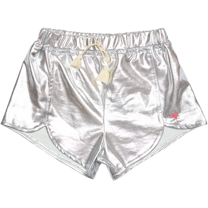 Millie Metallic Shorts in Silver