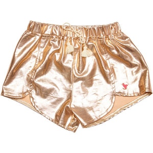 Millie Metallic Shorts in Rose Gold