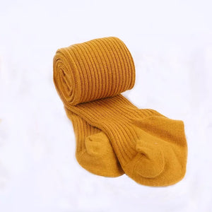 Ribbed Heavyweight Tights in Mustard