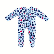 Load image into Gallery viewer, My Paw Heart Bamboo Zippered Footed Onesie